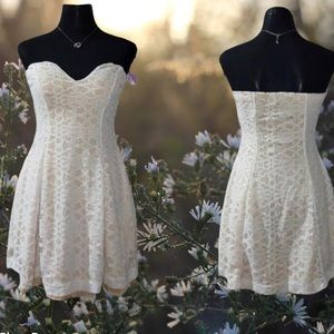 Bailey blue white lace dress strapless large